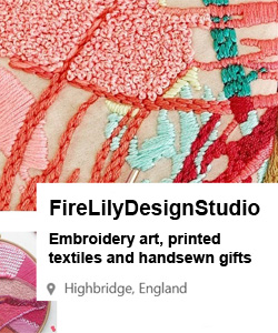 Fire lily design studio. Embroidery art, printed textiles and handsewn gifts