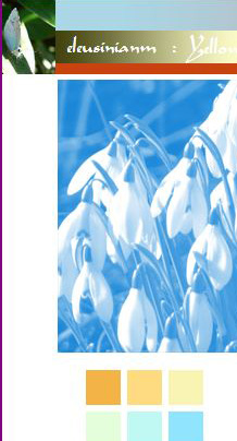 screenshot of titlebar of old website, snowdrops in monochrome