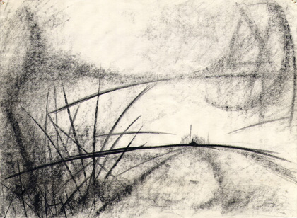distant destination, charcoal drawing