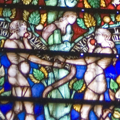 Depiction of the Garden of Eden in stained glass