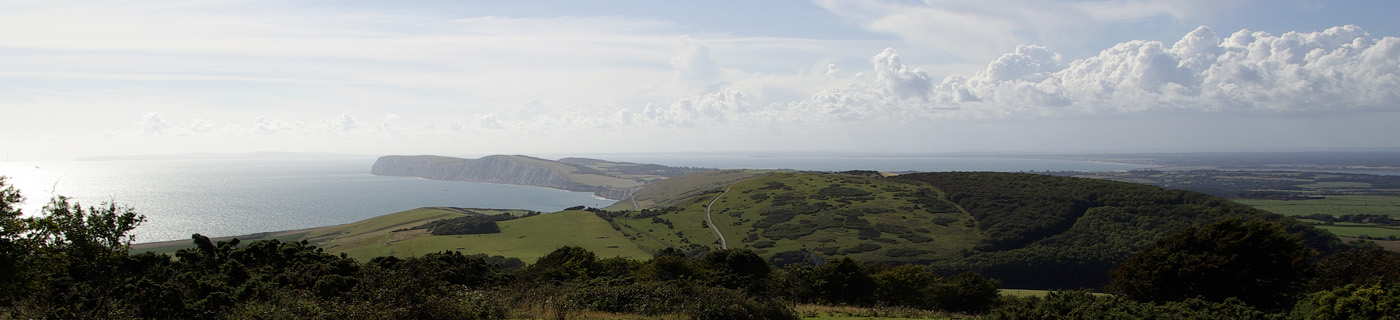 view of distant headland and sea, isle of Wight